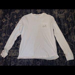Vineyard Vines White/Navy Long Sleeve Whale Shirt